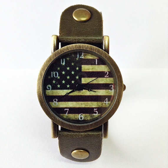 US Flag Watch American flag Retro Leather Watch Mens by FreeForme