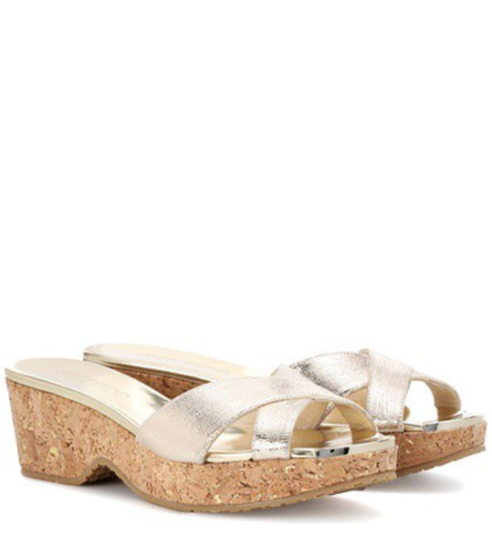 Jimmy Choo sandals leather gold shoes