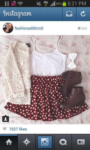 hearts skirt burgundy sweater kintted cute sweaters white