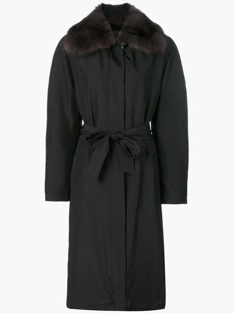Liska coat women black silk