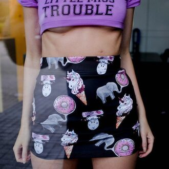 skirt fusion clothing black skirt print printed skirt unicorn donut elephant high waisted skirt high waisted violet