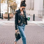 jacket,celebrity fashion lookbook,streetstyle,36683,biker jacket,embroidered,streetstyle celebrity style,leather jacket,motorcycle style