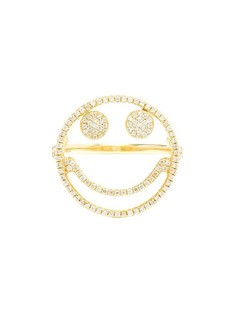 ROSA DE LA CRUZ women smiley ring gold grey metallic jewels