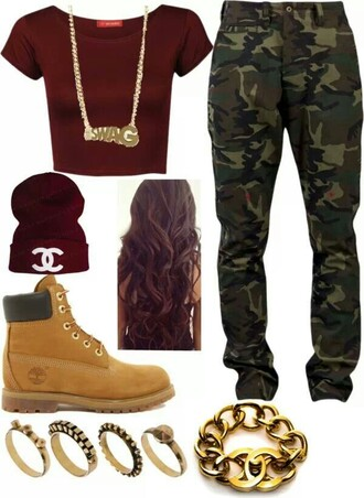 jeans camo pants timberlands gold camouflage hat shirt jewels shoes pants red crop top beanie swag t-shirt burgundy thug life boots workout crop tops long hair rings and tings bracelets blouse dope top