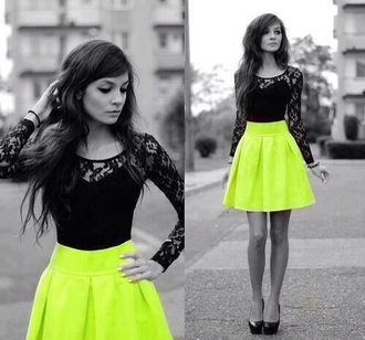 dress green black lace print bright