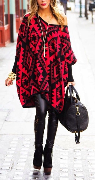 coat black poncho red pants bag jewels