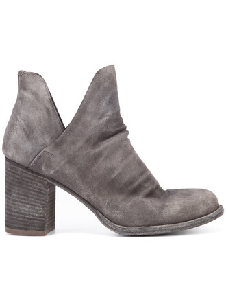 women boots leather suede grey shoes