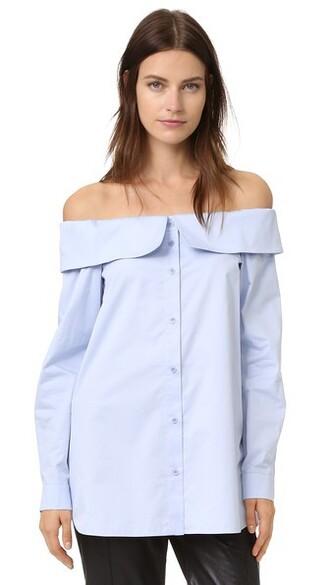 shirt off the shoulder blue top