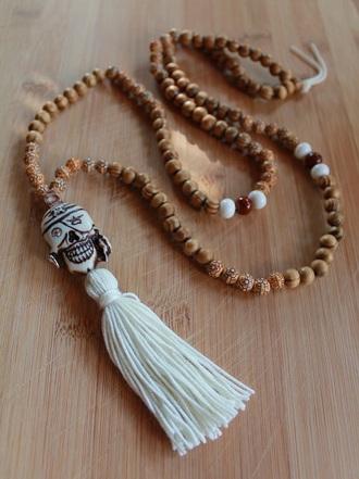 jewels tassel mala necklace beads necklace boho necklace jewelry wood bead