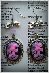 jewels,nu goth,pink,candy jade,cameo,bow,goth,gothic lolita,sceleton,earings,halloween accessory