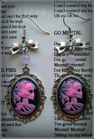jewels nu goth pink candy jade cameo bow goth gothic lolita sceleton earings halloween accessory