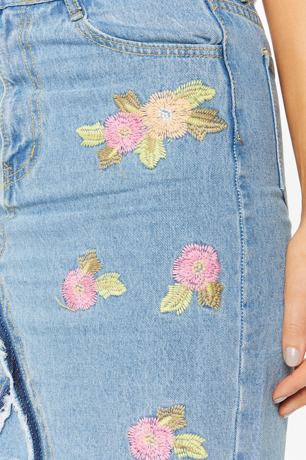 Thea Denim Floral Embroidered Mini Skirt