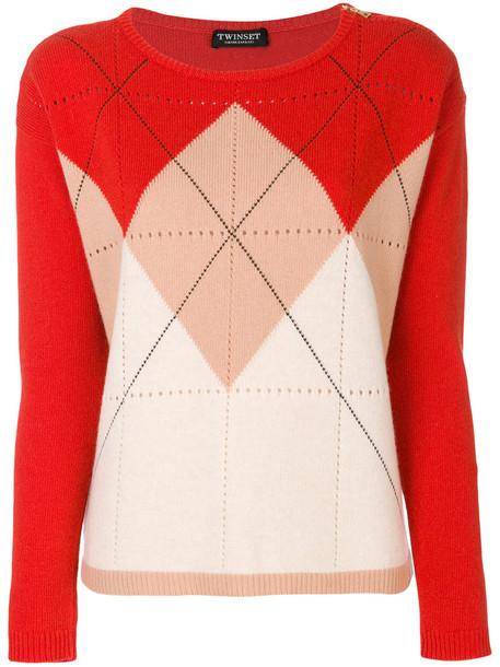 Twin-Set jumper women wool yellow pattern orange sweater