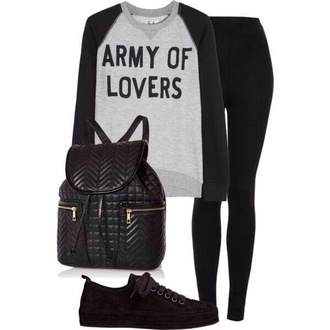 sweater black and grey army of lovers printed sweater grunge soft grunge bag shoes