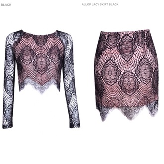skirt scallop lace coordinates two-piece