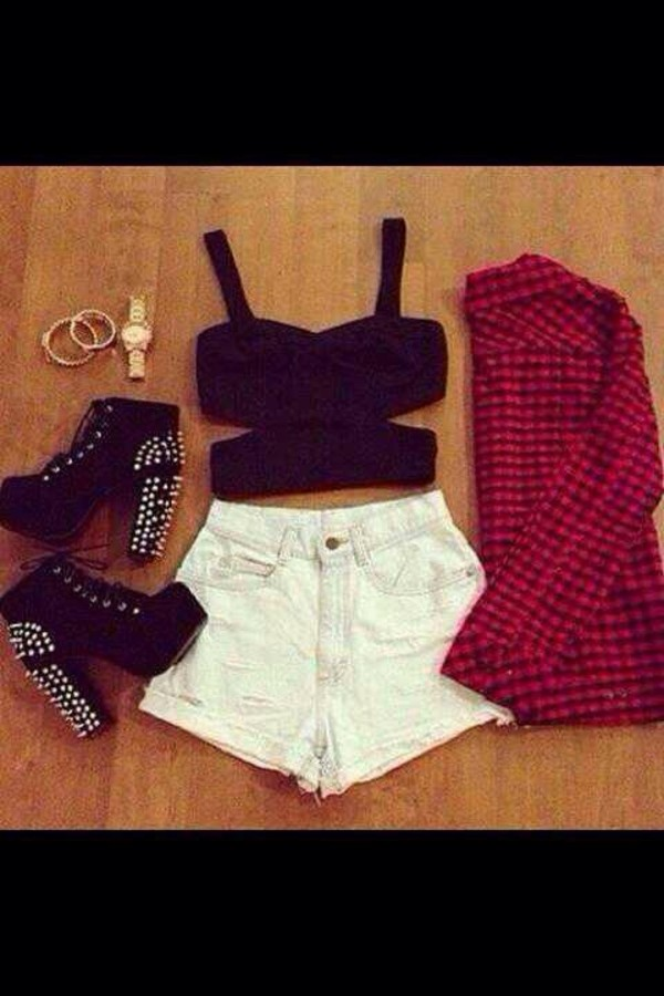 tank top blouse shoes