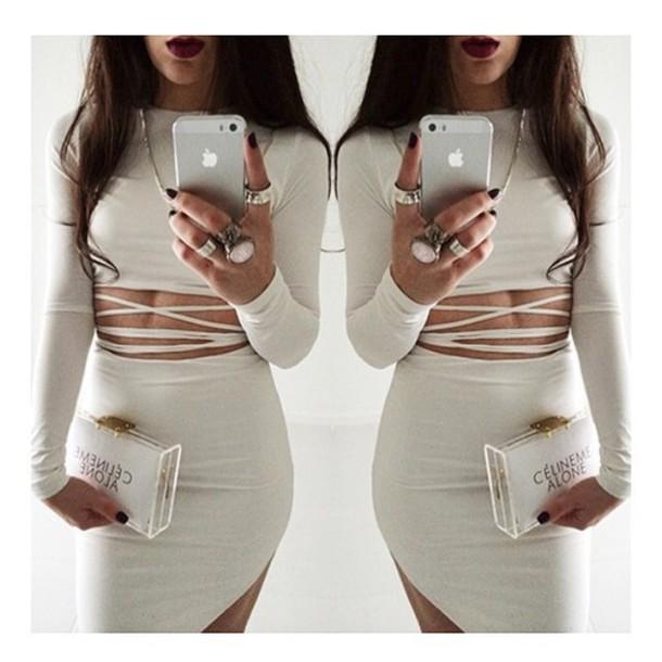 dress white dress cute dress twopiece high low dress