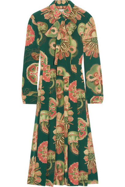 10856d658 Gucci - Pleated Printed Silk Crepe De Chine Midi Dress - Green ...