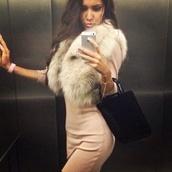 scarf,fur,white,dress,beige,white dress,rose,hair,girl,fur scarf,white and brown