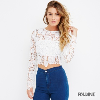 shirt lace lace blouse lace top crop tops white top jeans