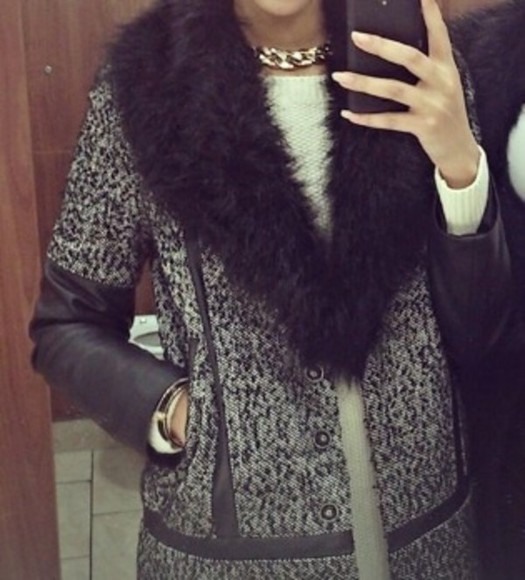 jacket grey jacket coat faux fur jacket fur collar grey cost