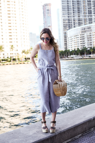miami + dallas based lifestyle and fashion blog blogger jumpsuit bag shoes sunglasses jewels basket bag spring outfits wedges sandals