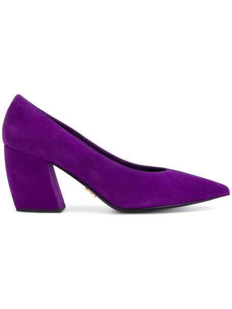 Prada women pumps leather suede purple pink shoes