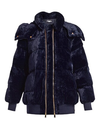 jacket oversized quilted velvet navy