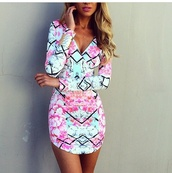 colorful prints,perfecto,dress,long sleeve dress,summer dress,abstract prints,fashion,aqua,diamonds,sleeves,short,print,floral dress,v neck,pink/aqua,pattern,watercolor,long sleeves,mini dress,short dress,colorful dress,bright dress,pinterest,tight,pastel dress,colorful,pink dress,geometric,rainbow,style,pencil skirt,blue dress,pink,teal,black stripes,multicolor