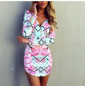 colorful prints perfecto dress long sleeve dress summer dress abstract prints fashion aqua diamonds sleeves short print floral dress v neck pink/aqua pattern watercolor long sleeves mini dress short dress colorful dress bright dress pinterest colorful rainbow style pencil skirt pink dress blue dress multicolor