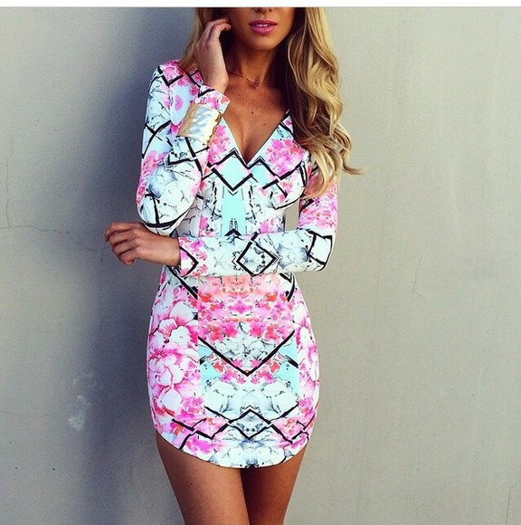 perfecto colorful prints dress long sleeve dress summer dress abstract prints fashion