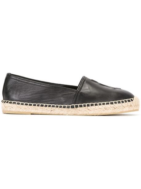 Saint Laurent women espadrilles leather black shoes