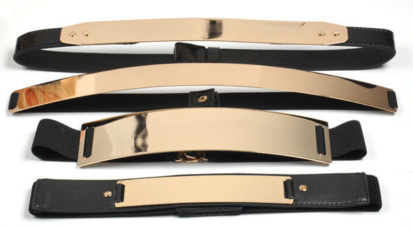 Elastic Mirror Metal Waist Belt Metallic Bling metal Gold plate Wide Obi Band XJ