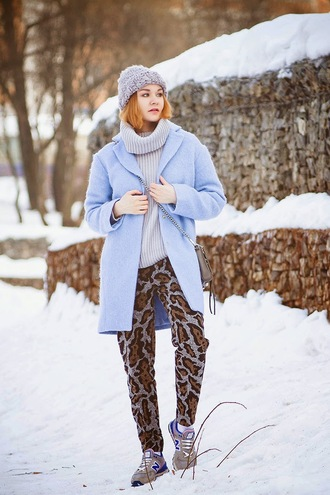 gvozdishe blogger animal print printed pants turtleneck blue coat light blue nike sneakers