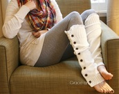 socks,white,leg warmers,button up,buttons,sweater,style,fashion,cute sweaters,cozy