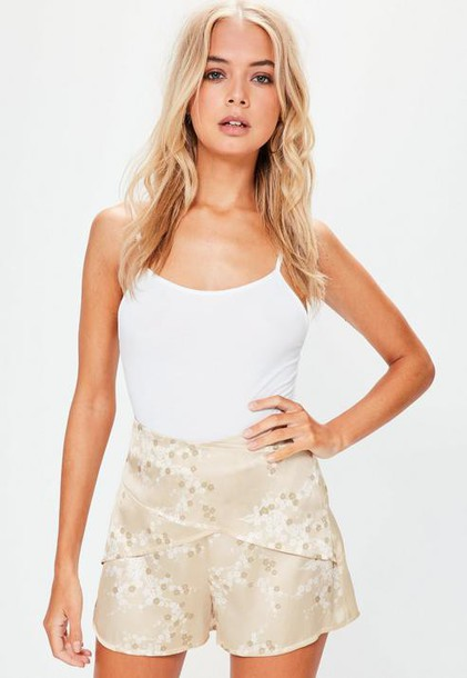 Missguided Gold Satin Blossom Print High Waisted Shorts