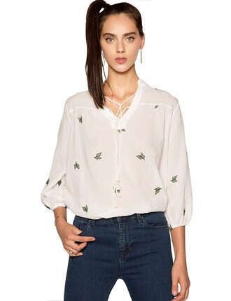 white blouse blouse boho boho blouse embroidered blouse relaxed fit fall outfits pre fall back to school transitional pieces pixie market pixie market girl boho fashion leaf print