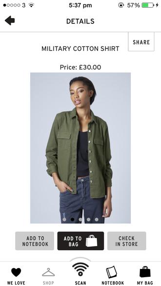 t-shirt green shirt olivegreen military style darkish green skirt button down shirt army green jacket