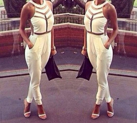 tank top white overalls high heels clutch