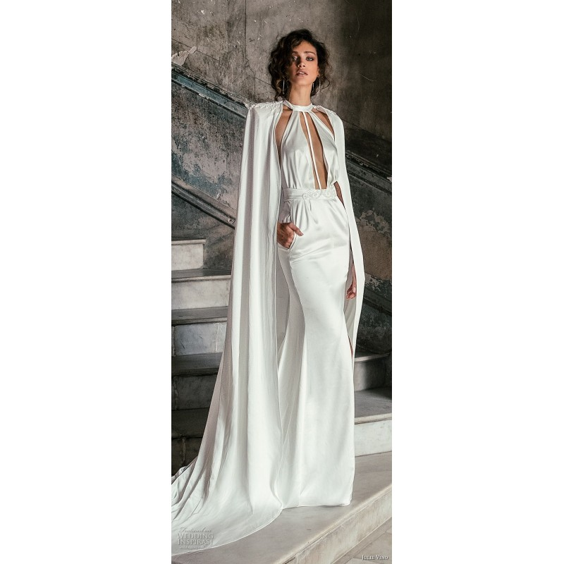 Julie Vino Fall/Winter 2018 1508 Beading Vintage Silk Ivory Chapel Train Fit & Flare Jewel Sleeveless Bridal Gown - 2018 Unique Wedding Shop