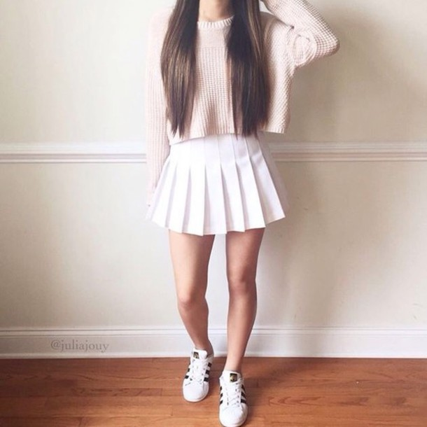 Sweater: pink, top, white, white skirt, pleated skirt, pleated ...