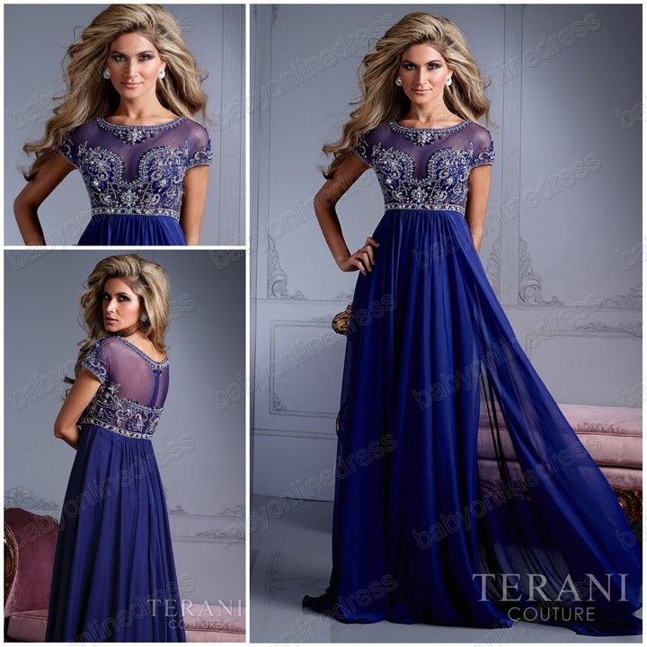 2014 New arrival Blue chiffon Beaded Formal evening dress prom dress Cap sleeved floor length party dresses for christmas dress-in Prom Dresses from Apparel & Accessories on Aliexpress.com