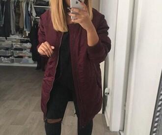 coat burgundy bordeau rouge cardigan blouse veste fashion red bordeau coat jacket longer bomber jacket bomber jacket burgundy jacket