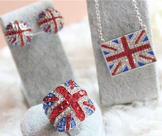 jewels union jack ring necklace earrings