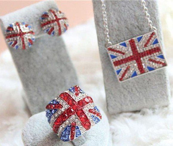 union jack jewels ring necklace earrings