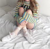 sweater,fullcolor,socks,white socks,fishnet socks,stripes,striped top,turtleneck,90s style,rainbow,turtleneck sweater,grunge,colorful