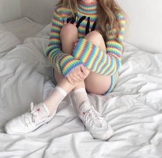sweater fullcolor socks white socks fishnet socks stripes striped top turtleneck 90s style rainbow turtleneck sweater grunge colorful