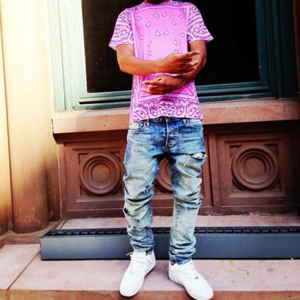 Shirt bandana print pink girl guys dope clothes - Wheretoget
