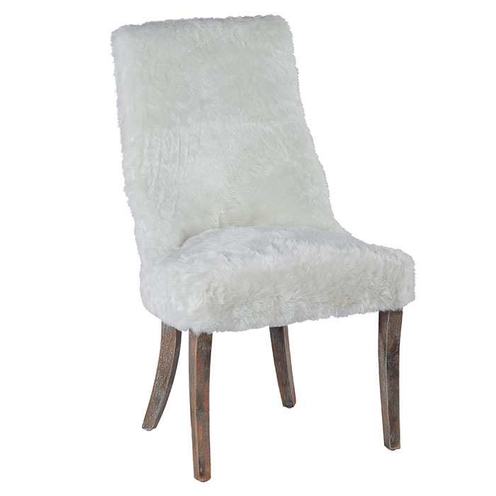 Chaise aspect fourrure blanche knuty for Chaise fourrure