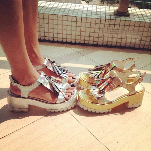 shoes golden sandals silver chunky